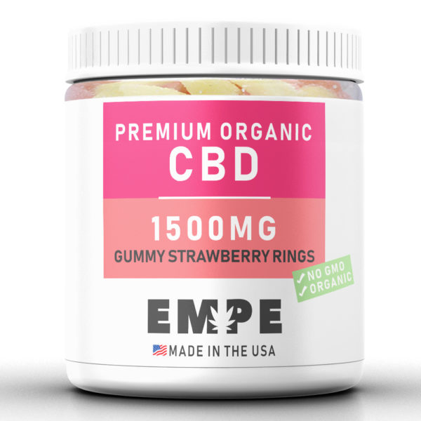 GUMMY STRAWBERRY RINGS 1500MG - PREMIUM ORGANIC HEMP CBD