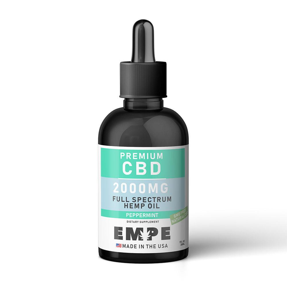 CBD Full Spectrum Hemp Oil Tincture Peppermint 2000mg