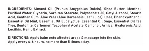 CBD Hemp Arnica Muscle and Joint Balm Ingredients